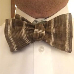 Brown and White Striped Linen Self-Tie Bow tie